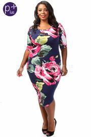 Plus Size Rose Printed Short Sleeve Midi Dress