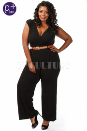 Plus Size Solid Wide Leg Belted Jumpsuit