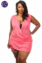 Plus Size Solid Front Cross Draped Top/Dress