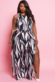 Plus Size Sleeveless Multi Print Double Slit Maxi Dress