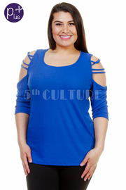 Plus Size Cut Out Sleeve Solid Top