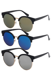 Retro Oversized Round Mirrored Sunglasses