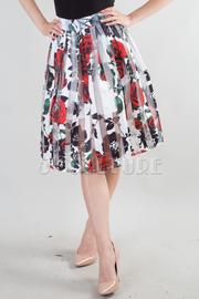 Flower Print Pleated Midi Skirt