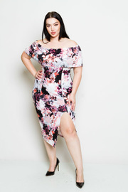 Plus Size Off The Shoulder Flower Print Midi Dress