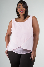 Plus Size Sleeveless Overlay Detail Solid Top
