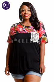 Plus Size Top Flower Print Crochet Pocket Detail Top