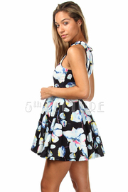 Sleeveless Tulle Floral Print Dress