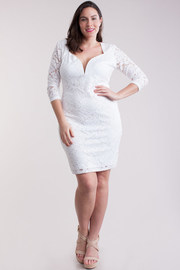 Plus Size Lace Sleeve Solid Mini Dress