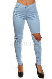 Knee Slit Solid High Waist Pants