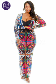 Plus Size Long Sleeve Mesh Print Maxi Dress