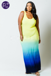 Plus Size Rainbow Ombre Maxi Dress