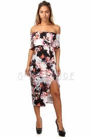Off The Shoulder Printed Side Slit Midi Dress