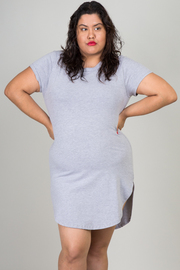 Plus Size Short Sleeve Solid Mini Dress