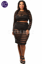Plus Size Stripe Mesh Insert Crop Top With Skirt Set