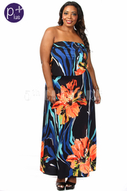 Plus Size Sleeveless Printed Maxi Dress