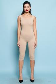 Sleeveless Open Back Capri Solid Jumpsuit