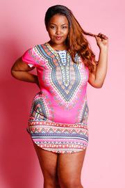 Plus Size Tropical Print Mini Dress