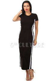 Side Stripe Contrast Short Sleeve Maxi Dress