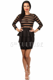 Long Sleeve Stripe Top Bottom Peplum Mini Dress