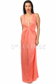 Sleeveless Deep V Cut Solid Maxi Dress
