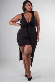 Plus Size Asymmetrical Draped  Solid Dress