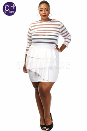 Plus Size Stripe Long Sleeve Front Ruffle Mini Dress
