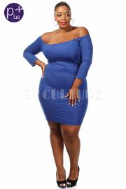 Plus Size Off The Shoulder Textured Mini Dress