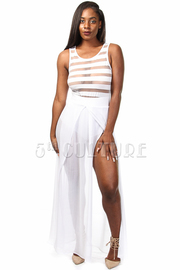 Top Mesh Stripe Bottom Chiffon Double Slit Maxi Dress