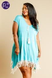Plus Size Bottom Fringe Solid Short Sleeve Mini Dress
