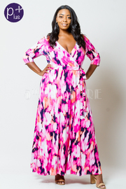 Plus Size Printed Waist Tie Maxi Dress