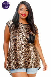 Plus Size Short Sleeve Leopard Printed Top