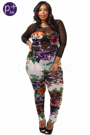 Plus Size Mesh Insert Printed Jumpsuit