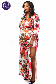 Plus Size Flower Print Side Slit Maxi Dress