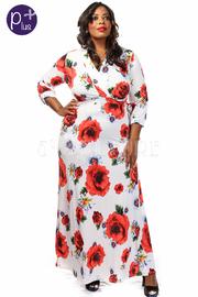 Plus Size Flower Print High Slit Maxi Dress