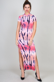 Short Sleeve Open Back Printed Side Slit Maxi Dress