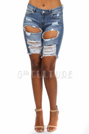Front Cut Out Capri Jeans