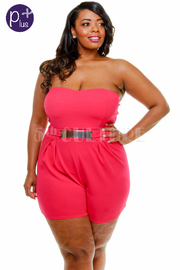 Plus Size Solid Sweetheart Romper