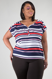 Plus Size Short Sleeve Stripe Top