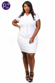 Plus Size Short Sleeve Solid Hoodie Mini Dress