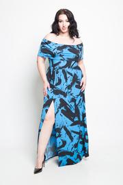 Plus Size Off The Shoulder Side Slit Maxi Dress