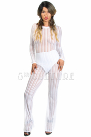 Long Sleeve Fish Net Detail Wide Bottom Jumpsuit