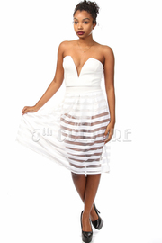 Strapless Sweet Heart Bottom Stripe Mesh Mini Dress