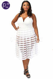 Plus Size Strapless Sweetheart Bottom Stripe Mesh Midi Dress