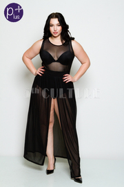 Plus Size Bodysuit With Chiffon Front Slit Maxi Dress