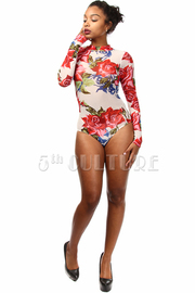 Long Sleeve Flower Print Mesh Bodysuit