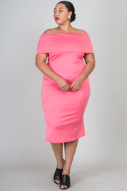 Plus Size Off The Shoulder Back Bow Solid Midi Dress