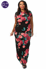 Plus size Short Sleeve Floral Print Dress