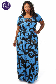 Plus Size Maxi Printed Dress