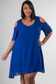 Plus Size Open Shoulder Solid Mini Dress
