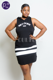 Plus Size New York Sleeveless Hoodie Mini Dress